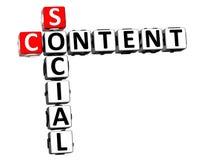 contenuto del sociale delle parole incrociate della rappresentazione 3D sopra fondo bianco illustrazione di stock