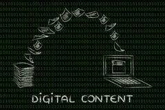 Contenuto digitale: carta e tornitura di esame nei dati Fotografie Stock