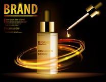 Contenuto traslucido dell'essenza, annunci, modello della bottiglia di vetro di trucco dell'oro Prodotto dei cosmetici di progett royalty illustrazione gratis