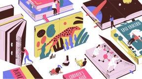 Contes de fées de lecture de personnes minuscules mignonnes, la science-fiction, manuels géants Concept du monde de livre, lecteu illustration de vecteur