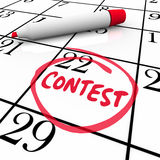 Contest Calendar Date Circled Reminder Entry Deadline Win. Contest word circled on a calendar to remember the date of an entry deadline for participating in a Royalty Free Stock Image