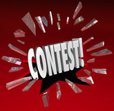 Contest 3D Word Grand Prize Drawing Announcement News. Contest 3d word breaking through red glass to illustrate an announcement or news of a raffle, drawing Stock Photography