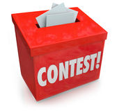 Contest Entry Form Box Enter Win Drawing Raffle Prize. Contest word on a 3d red collection box to enter your entry form and compete to win a prize, award or Stock Photos