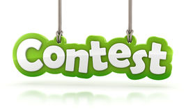 Contest green word text hanging on white background Royalty Free Stock Images