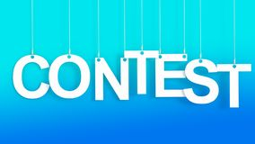 Contest hanging letters. Over blue background Royalty Free Stock Photo
