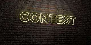 CONTEST -Realistic Neon Sign on Brick Wall background - 3D rendered royalty free stock image. Can be used for online banner ads and direct mailers Royalty Free Stock Photography