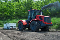 Contest of tractor drivers for towing cargo 10 tons, Don-25, Rostov-on-Don, Russia, June 4, 2016. Races on rough terrain, take place annually at the former royalty free stock photos