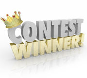 Contest Winner Crown Words Jackpot Lucky Prize Recipient Stock Photo