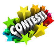 Contest Word Stars Fireworks Exciting Raffle Drawing News. Contest word in 3d letters to announce exciting news of a raffle, drawing, game or competiton for you Royalty Free Stock Photo