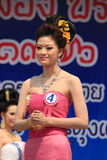 Contestant for Miss Songkran 2014. Chiangrai, Thailand - April 13, 2014: Unidentified contestant for Miss Songkran 2014 is walking on the stage for judges to Stock Images