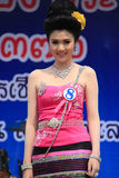 Contestant for Miss Songkran 2014. Chiangrai, Thailand - April 13, 2014: Unidentified contestant for Miss Songkran 2014 is walking on the stage for judges to Royalty Free Stock Image