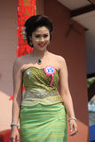 Contestant for Miss Songkran 2014. Chiangrai, Thailand - April 13, 2014: Unidentified contestant for Miss Songkran 2014 is walking on the stage for judges to Royalty Free Stock Photos