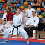 Contestant participating in the European Karate Championship Fudokan Royalty Free Stock Images