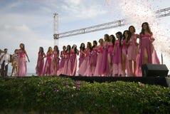 Contestants beauty contest in montanita ruta del sol miss ecuad. Or 2008 swim suit competition Stock Image