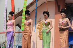 Contestants for Miss Songkran 2014. Chiangrai, Thailand - April 13, 2014: The contestants for Miss Songkran 2014 are standing on the stage for judges to consider Stock Image