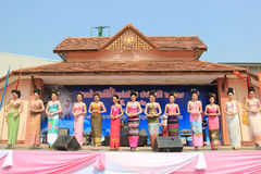 Contestants for Miss Songkran 2014. Chiangrai, Thailand - April 13, 2014: The contestants for Miss Songkran 2014 are standing on the stage for judges to consider Stock Images