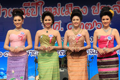 Contestants for Miss Songkran 2014. Chiangrai, Thailand - April 13, 2014: The contestants for Miss Songkran 2014 are standing on the stage for judges to consider Royalty Free Stock Image
