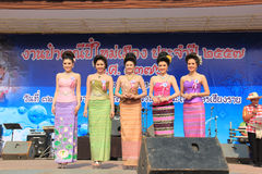 Contestants for Miss Songkran 2014. Chiangrai, Thailand - April 13, 2014: The contestants for Miss Songkran 2014 are standing on the stage for judges to consider Royalty Free Stock Photo