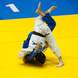 Contestants participate in the Judo World Cup Men Stock Photo