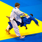 Contestants participate in the Judo World Cup Men Royalty Free Stock Photography