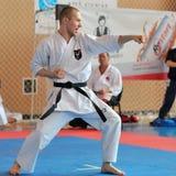 Contestants participating in the Europ. GALATI, ROMANIA - MAY 30: Contestants participating in the European Karate Championship Fudokan 2014 in Galati, Romania stock photography