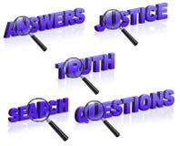Conteste a la pregunta de la verdad de la búsqueda de la justicia stock de ilustración
