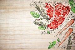 Contesto di legno della bistecca saporita della carne Immagini Stock Libere da Diritti