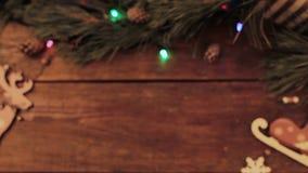 Contesto di legno di Natale festivo del fuoco selettivo archivi video