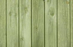 Contesto di legno naturale verde del fondo di With Visible Grain del recinto della plancia Fotografia Stock