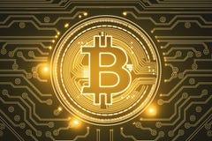 Contesto dorato del bitcoin Fotografia Stock Libera da Diritti