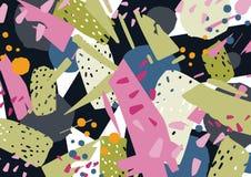 Contesto orizzontale insolito con le macchie astratte variopinte, le sbavature, le schegge o le frazioni Luminoso colorato alla m illustrazione di stock