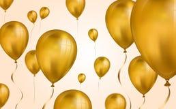 Contesto volante dei palloni dell'elio dell'oro lucido con effetto della sfuocatura Fondo di nozze, di compleanno e di anniversar illustrazione vettoriale
