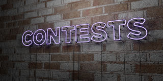 CONTESTS - Glowing Neon Sign on stonework wall - 3D rendered royalty free stock illustration. Can be used for online banner ads and direct mailers Royalty Free Stock Photography