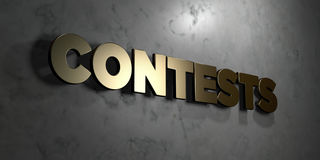 Contests - Gold sign mounted on glossy marble wall  - 3D rendered royalty free stock illustration Royalty Free Stock Photo