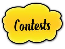 CONTESTS handwritten on yellow cloud with white background. Illustration Royalty Free Stock Photos