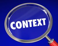 Context Word Magnifying Glass Meaning Information. 3d Illustration Stock Photography