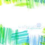 Contexte artistique dans la forme carrée, vecteur avec des courses de brosse, fond de regard d'aquarelle avec les taches peintes  Photographie stock libre de droits