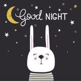 Contexte avec le lapin, la lune, les étoiles et le texte heureux illustration de vecteur