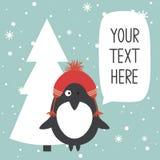Contexte avec le pingouin, l'arbre de sapin, la neige et l'endroit heureux pour le texte illustration stock