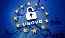Contexte bleu de l'Europa DSGVO - illustration 3D illustration libre de droits