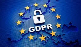 Contexte bleu de l'Europa GDPR - illustration 3D illustration libre de droits