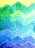 Contexte coloré de zig-zag d'aquarelle Images stock