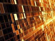 Contexte d'or de technologie ou de science fiction - le mur diagonal se composent des cellules rectangulaires Image générée par o photographie stock libre de droits