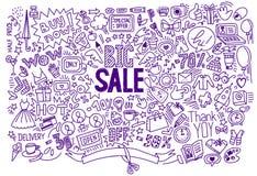 Contexte de achat de vente de dessin de main grand Images stock