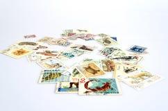 Contexte de vieux timbres-poste Images libres de droits