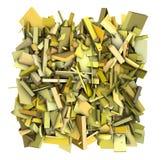 contexte du modèle 3d réduit en fragments par résumé jaune Image libre de droits