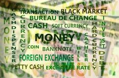 Contexte financier essentiel de terme avec le CCB de carte de billet de banque des dollars Image stock