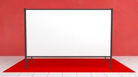 Contexte, mètres de la bannière 2x4 de presse avec le carpit rouge 3d rendent le calibre Maquette photographie stock libre de droits