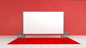 Contexte, mètres de la bannière 2x4 de presse avec le carpit rouge 3d rendent le calibre Maquette images libres de droits