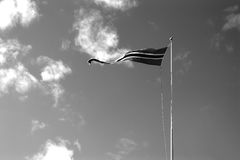 Contexte noir et blanc de ondulation de drapeau de la Norvège Images libres de droits